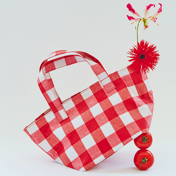 Gingham Check Boat Bag_2Color